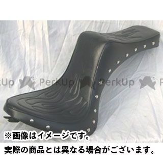 アメリカンドリームス ドラッグスタークラシック400(DSC4) シート関連パーツ キング&クィーンシート ファイヤーパターン スタッド 黒レザー