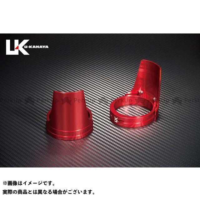 ユーカナヤ VTR250 アルミ削り出しビレットフォークガード レッド レッド U-KANAYA
