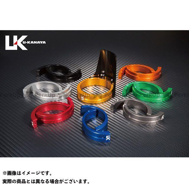 ユーカナヤ ZRX400 ZRX400- アルミ削り出しビレットフォークガード ブラック オレンジ U-KANAYA