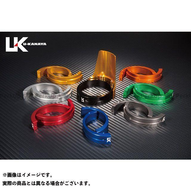 ユーカナヤ ZRX400 ZRX400- アルミ削り出しビレットフォークガード ゴールド ブルー U-KANAYA