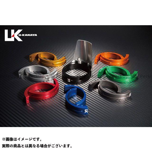 ユーカナヤ ZRX400 ZRX400- アルミ削り出しビレットフォークガード シルバー ブルー U-KANAYA