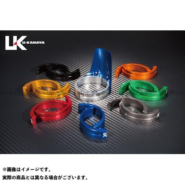 ユーカナヤ ZRX400 ZRX400- アルミ削り出しビレットフォークガード ブルー ブラック U-KANAYA