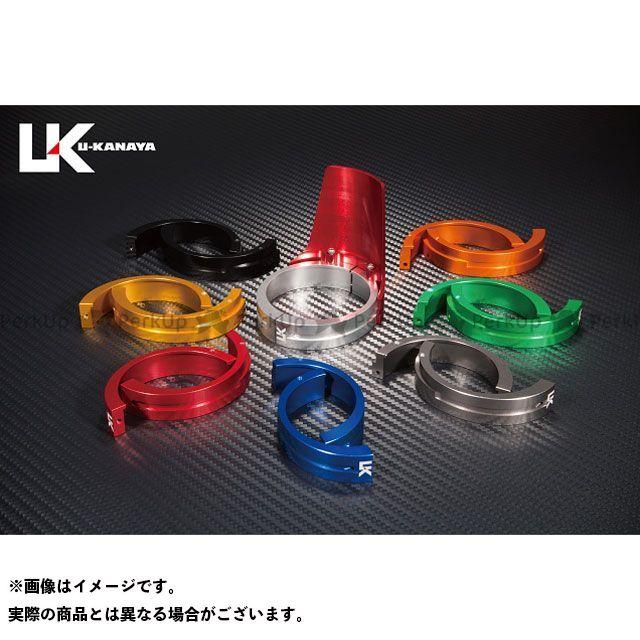 ユーカナヤ ZRX400 ZRX400- アルミ削り出しビレットフォークガード レッド オレンジ U-KANAYA