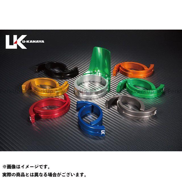 ユーカナヤ ZRX400 ZRX400- アルミ削り出しビレットフォークガード グリーン ゴールド U-KANAYA