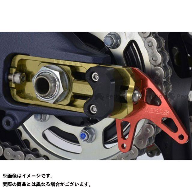 アグラス GSX-R1000 チェーンアジャスタースライダー チェーン引き:ゴールド スタンドプレート:シルバー スライダー:ホワイト AGRAS