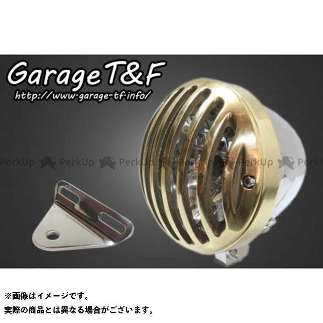 ガレージT&F ドラッグスター1100(DS11) 4.5インチバードゲージヘッドライト&ライトステー(タイプA)キット ヘッドライト:メッキ ゲージ:真鍮 ガレージティーアンドエフ