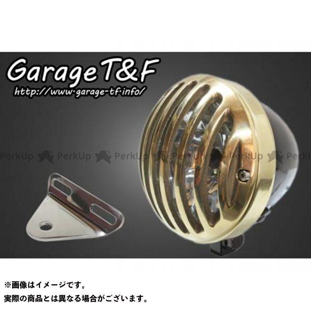 ガレージT&F シャドウスラッシャー 4.5インチバードゲージヘッドライト&ライトステー(タイプA)キット ヘッドライト:ブラック ゲージ:真鍮 ガレージティーアンドエフ