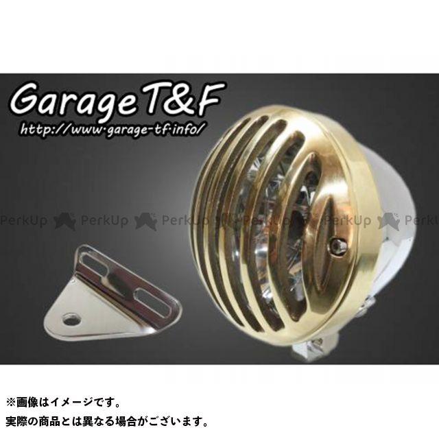 ガレージTF ガレージティーアンドエフ ヘッドライト・バルブ 電装品 ガレージTF Vツインマグナ 4.5インチバードゲージヘッドライト&ライトステー(タイプA)キット メッキ 真鍮 ガレージティーアンドエフ