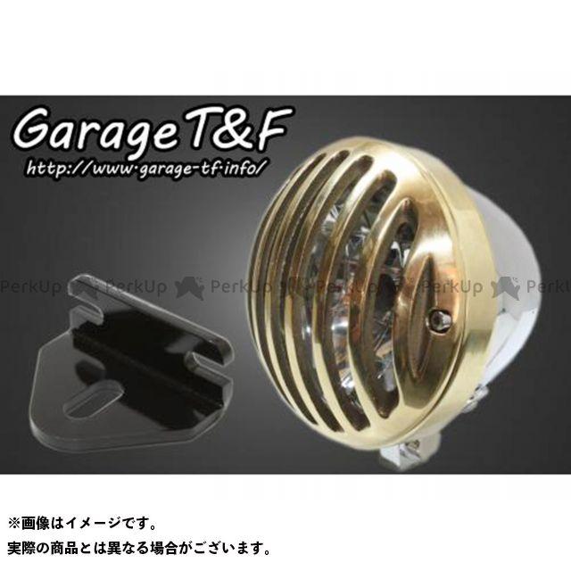 ガレージTF ガレージティーアンドエフ ヘッドライト・バルブ 電装品 ガレージTF 250TR 4.5インチバードゲージヘッドライト&ライトステー(タイプE)キット メッキ 真鍮 ガレージティーアンドエフ