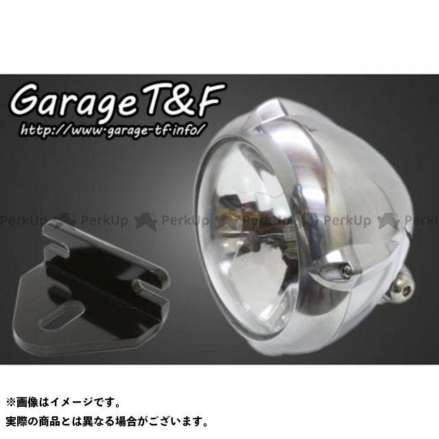 ガレージT&F W650 5.75インチビンテージライト(ブラック)&ライトステー(タイプE)キット カラー:ポリッシュ ガレージティーアンドエフ
