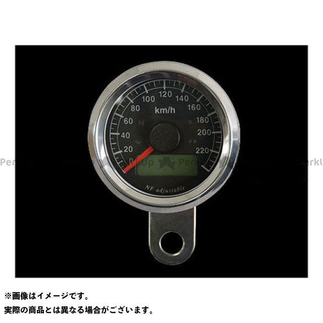 ネオファクトリー ハーレー汎用 48mm インジケーター付きスピードメーター ボディ:ステンレス 文字盤:黒盤 バックLED:白光 ネオファク