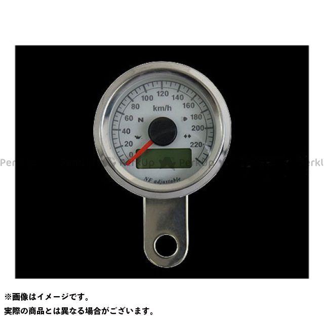 ネオファクトリー ハーレー汎用 48mm インジケーター付きスピードメーター ボディ:ステンレス 文字盤:白盤 バックLED:白光 ネオファク