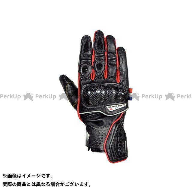 【エントリーで更にP5倍】elf riding wear ELG-7266 Leather Gloves カラー:ブラック/レッド サイズ:M エルフ ライディングウェア