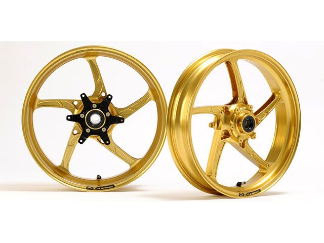 OZレーシング イナズマ1200 ホイール本体 アルミ鍛造ホイール OZ-5S PIEGA 前後セット F350-17/R550-17 ゴールドテクノ