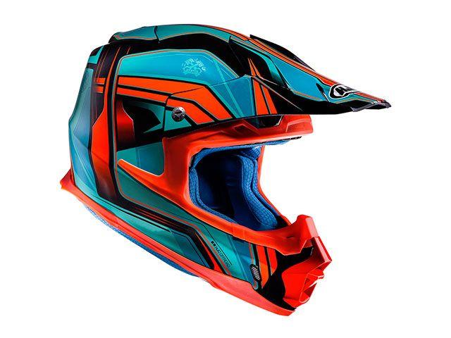 送料無料 HJC エイチジェイシー オフロードヘルメット HJH125 FG-MX ピストン アクア/オレンジ S/55-56cm
