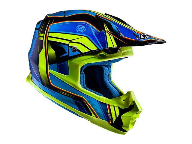 送料無料 HJC エイチジェイシー オフロードヘルメット HJH125 FG-MX ピストン ブルー/イエロー XL/61-62cm
