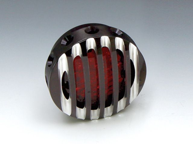 送料無料 イージーライダース 汎用 テール関連パーツ LEDドリルドフィンテールライトセット 単体(ブラック) コントラスト2フィンフェイス レッド