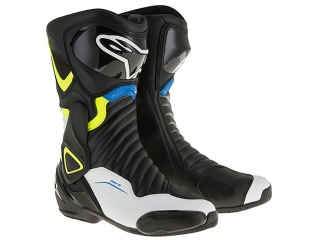送料無料 Alpinestars アルパインスターズ レーシングブーツ SMX6 ブーツ(ブラック/ホワイト/イエローフロー/ブルー) 45