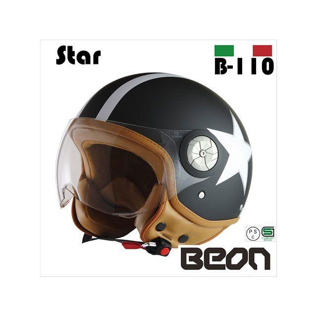 送料無料 Beon HELMETS ベオンヘルメット ジェットヘルメット スモールジェットヘルメット B110 スター(マッドブラック) M