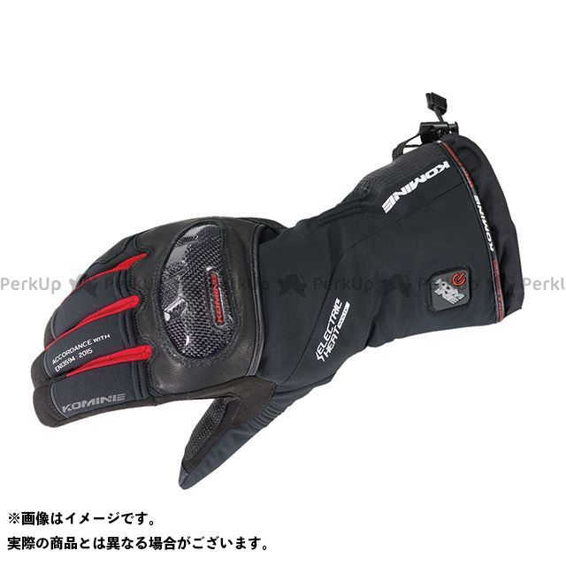 コミネ KOMINE 電熱ウェア・防寒用品 バイクウェア コミネ EK-200 カーボンプロテクトエレクトリックグローブ(ブラック/レッド) L KOMINE