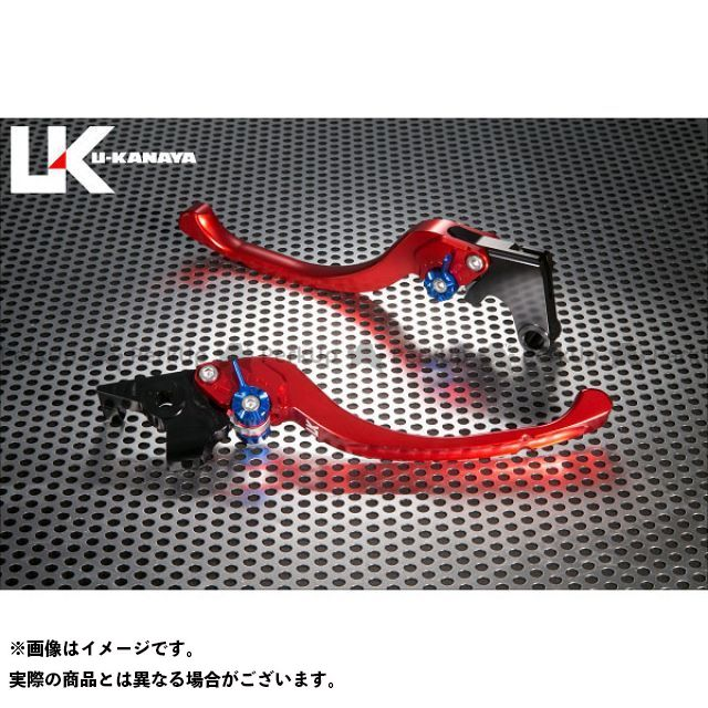 ユーカナヤ ST2 ツーリングタイプ アルミ削り出しビレットレバー(レバーカラー:レッド) カラー:調整アジャスター:ゴールド U-KANAYA