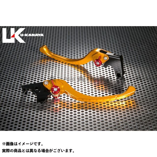 ユーカナヤ スクランブラー ツーリングタイプ アルミ削り出しビレットレバー(レバーカラー:ゴールド) カラー:調整アジャスター:ブラック U-KANAYA