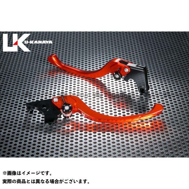 ユーカナヤ R1200GS ツーリングタイプ アルミ削り出しビレットレバー(レバーカラー:オレンジ) カラー:調整アジャスター:レッド U-KANAYA