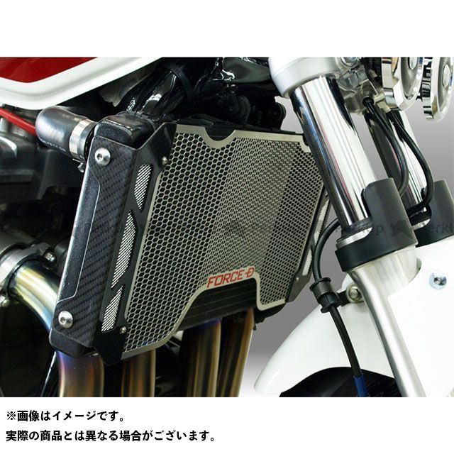 フォルスデザイン CB1300スーパーツーリング CB1300ST ラジエターコアガード カスタムタイプ 平織り メッシュ中央 白エンブレム FORCE DESIGN