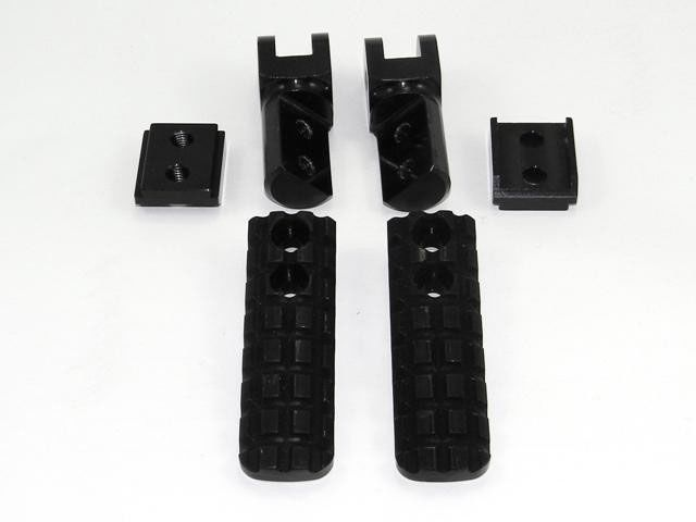 送料無料 ドゥカバイク DUCABIKE ステップ アジャスタブル パッセンジャーペグ ブロックデザイン ブラック