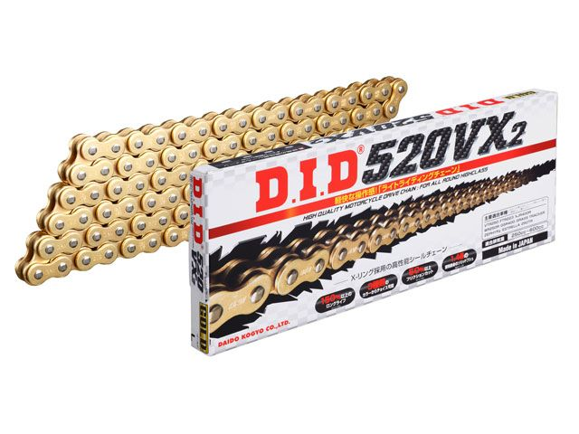 送料無料 DID 汎用 チェーン関連パーツ ストリートチェーン 520VX2 軽圧入クリップジョイントタイプ ゴールド 120L