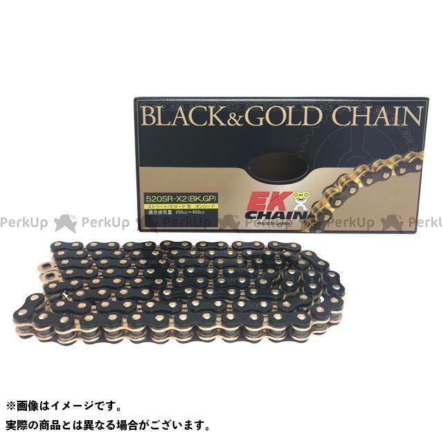送料無料 EKチェーン 汎用 チェーン関連パーツ QXリングチェーン 520SR-X2 MLJ ブラック&ゴールド 124L