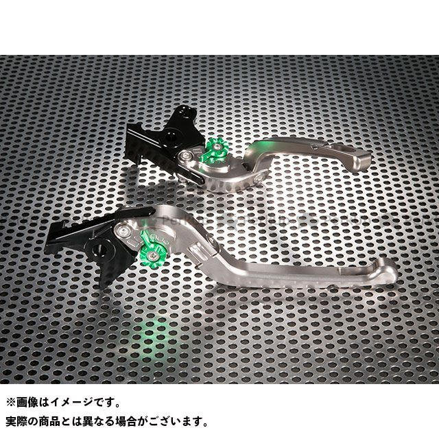 ユーカナヤ SV650 Rタイプ 可倒式 アルミ削り出しビレットレバー(レバーカラー:チタン) カラー:調整アジャスター:グリーン U-KANAYA