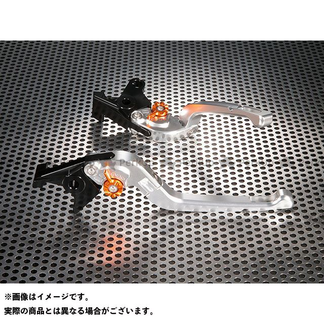 ユーカナヤ FZS1000フェザー Rタイプ 可倒式 アルミ削り出しビレットレバー(レバーカラー:シルバー) カラー:調整アジャスター:オレンジ U-KANAYA