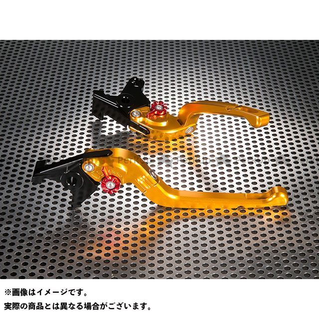 ユーカナヤ グランドマジェスティ250 Rタイプ 可倒式 アルミ削り出しビレットレバー(レバーカラー:ゴールド) カラー:調整アジャスター:レッド U-KANAYA