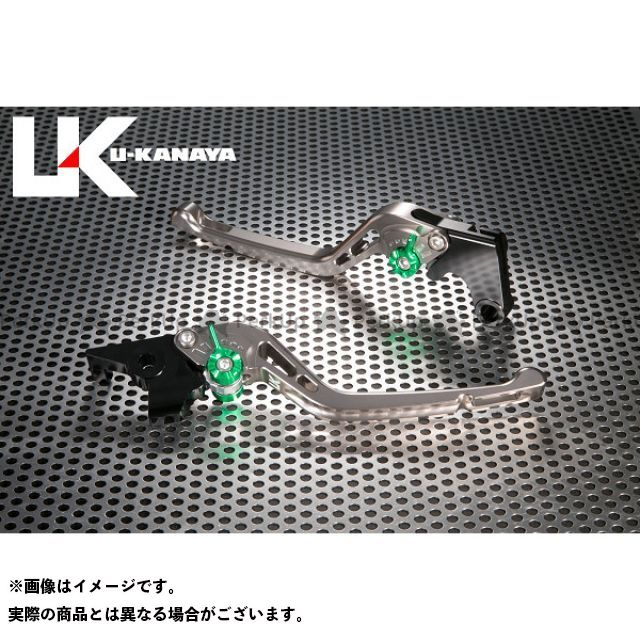 ユーカナヤ CB1000R GPタイプ アルミ削り出しビレットレバー(レバーカラー:チタン) カラー:調整アジャスター:ブルー U-KANAYA