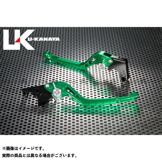 【無料雑誌付き】ユーカナヤ CB1000R GPタイプ アルミ削り出しビレットレバー(レバーカラー:グリーン) カラー:調整アジャスター:チタン U-KANAYA