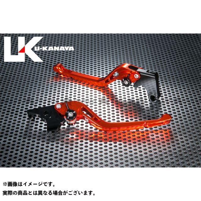 ユーカナヤ CB1000R GPタイプ アルミ削り出しビレットレバー(レバーカラー:オレンジ) カラー:調整アジャスター:グリーン U-KANAYA