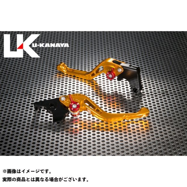 ユーカナヤ CB1000R GPタイプ アルミ削り出しビレットショートレバー(レバーカラー:ゴールド) カラー:調整アジャスター:シルバー U-KANAYA