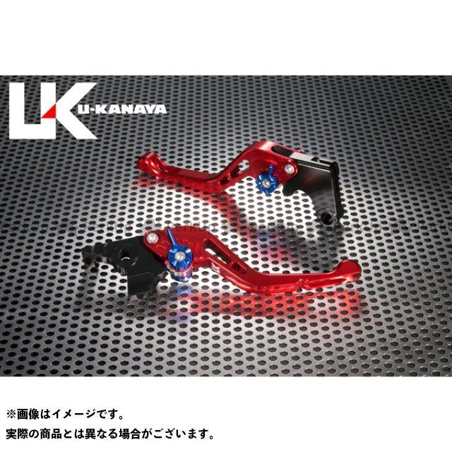 ユーカナヤ CB1000R GPタイプ アルミ削り出しビレットショートレバー(レバーカラー:レッド) カラー:調整アジャスター:ブルー U-KANAYA