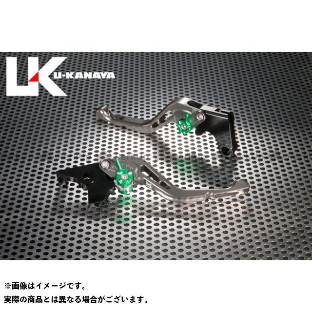ユーカナヤ CB1000R GPタイプ アルミ削り出しビレットショートレバー(レバーカラー:チタン) カラー:調整アジャスター:ブルー U-KANAYA