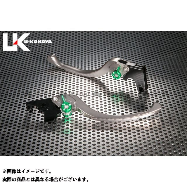 ユーカナヤ CB1000R ツーリングタイプ アルミ削り出しビレットレバー(レバーカラー:チタン) カラー:調整アジャスター:グリーン U-KANAYA