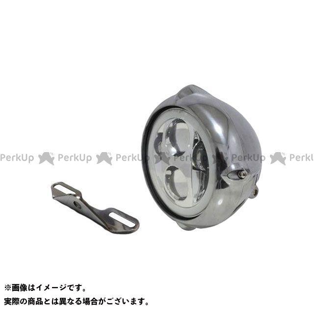 ガレージT&F バルカン400クラシック ヘッドライト・バルブ 5.75インチビンテージヘッドライト(ポリッシュ) プロジェクターLED仕様(リング付き)&ライトステー(タイプB) キット