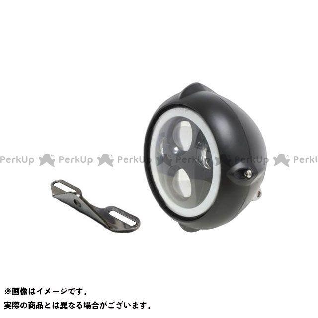 ガレージT&F バルカン400クラシック ヘッドライト・バルブ 5.75インチビンテージヘッドライト(ブラック) プロジェクターLED仕様(リング付き)&ライトステー(タイプB) キット