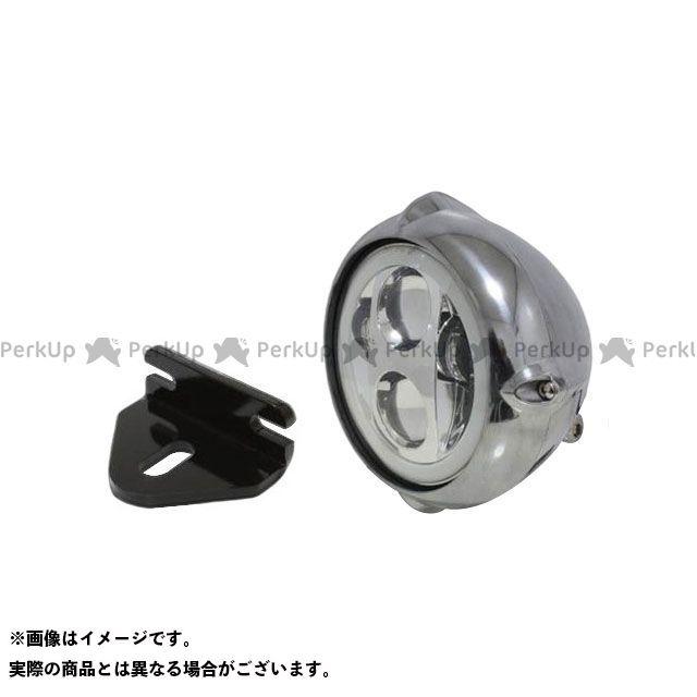 ガレージT&F W400 W650 W800 ヘッドライト・バルブ 5.75インチビンテージヘッドライト(ポリッシュ) プロジェクターLED仕様(リング付き)&ライトステー(タイプE) キット