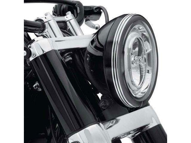 送料無料 ハーレーダビッドソン HARLEY-DAVIDSON 電装ステー・カバー類 Defiance ヘッドライトトリムリング 7インチ ブラックマシンカット