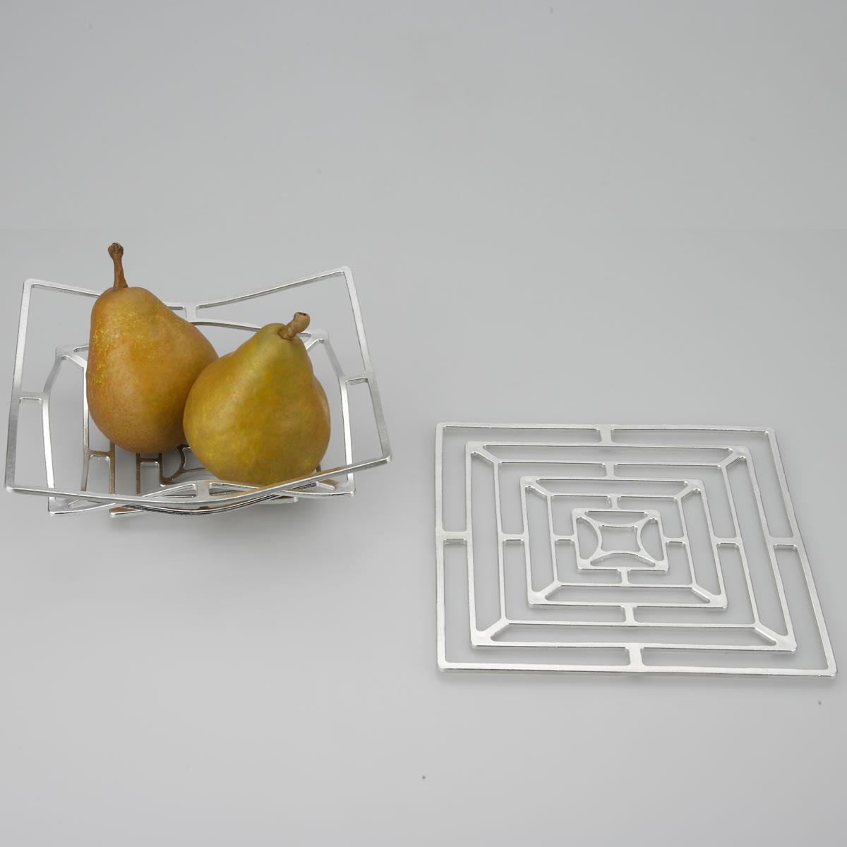 能作 KAGO スクエア M  鋳物 錫 かご インテリア オブジェ アレンジ 贈り物/ギフト/プレゼント/富山