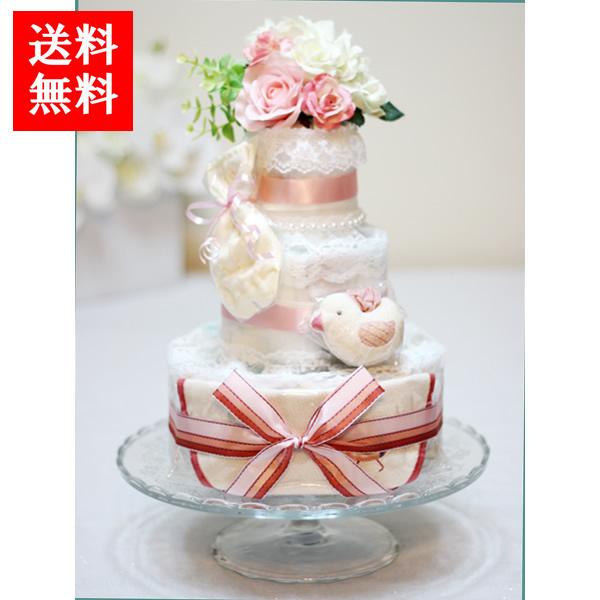 Angel Cake ダイパーケーキ おむつケーキ ビセラタワー ピンクリボン エンジェルケーキ 出産祝い