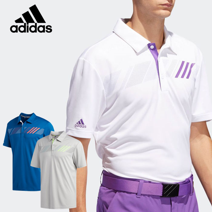 アディダス ゴルフウェア チェストストライプ 半袖シャツ メンズ Adidas GOLF ゴルフ用品 【日本正規品】【新品】【即納】【あす楽対応】 【ラッキーシール対応】