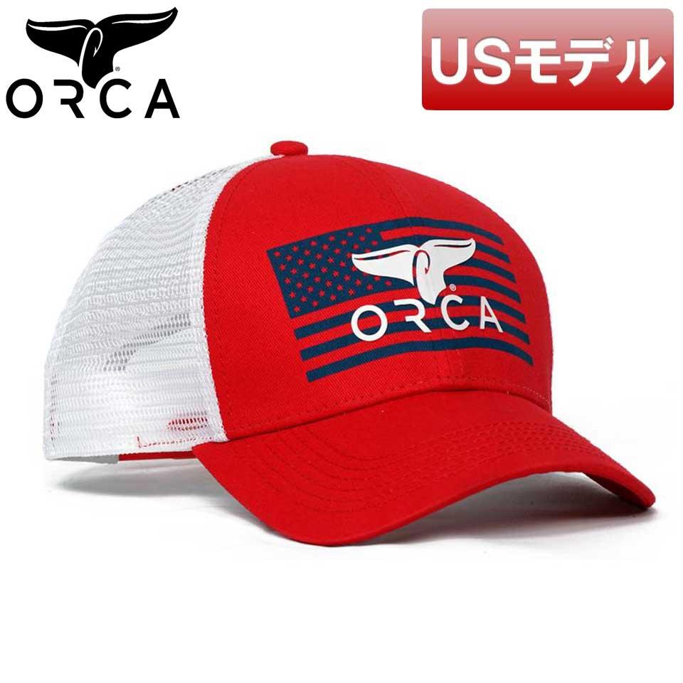 アメリカ国旗をデザインしたトラッカー USモデル オルカ フラッグロゴ トラッカーキャップ レッド あす楽対応 新品 即納 新作続 フリーサイズ スナップバック 注文後の変更キャンセル返品