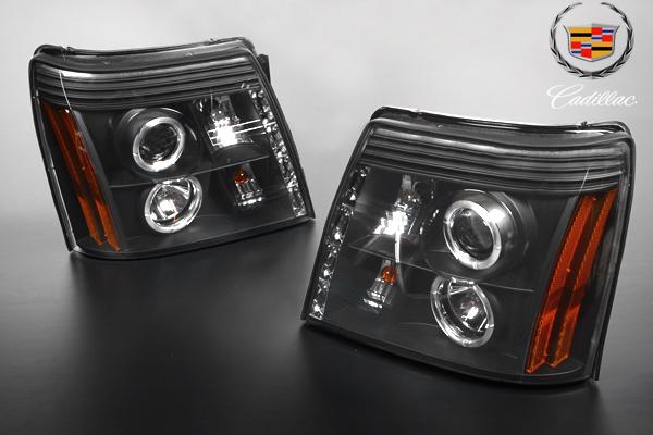 ★在庫あり 安心の台湾製 LED イカリング プロジェクター ヘッドライト ブラック HID車 ハロゲン車 【適合車】02-06y キャデラック エスカレード (ESV EXTも可) E032